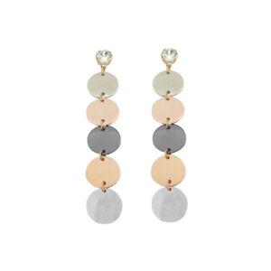 Women Fashion Earrings Long Round Disk Dangle Ear Jewelry for Christmas Wear