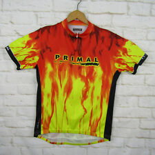 Primal Wear Cycling Jersey Size XL Flames Short Sleeve Pockets Quarter Zip