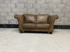 Chesterfield Style Aged Cigar Tanned Brown Leather 2 Seater Club Sofa