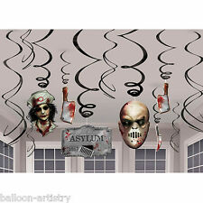 12 Assorted Halloween Surgery Horror Bloody Hanging Cutout Swirls Decorations