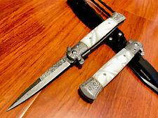 "9""Lasered Italian Milano Stiletto Spring Assisted Folding Pocket Knife.Survival"