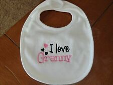 Embroidered Baby Bib - I Love Granny - Girl