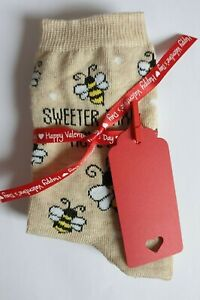 Women's/Girl's Sweeter Than Honey Bee Valentine Socks with Ribbon & Gift Tag