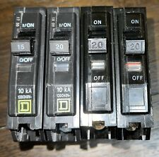 4 Pieces Square D Single Pole Qo Circuit Breakers 120v / Lot / 20A and 15A