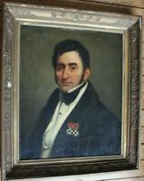 """Tableau ancien HST """"Portrait de gentilhomme"""" Anonyme"""
