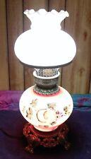 VINTAGE VICTORIAN STYLE HURRICANE LAMP PINK W FLORAL PATTERN & NIGHTLIGHT
