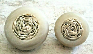 2 Large Chunky Round Beige Cloth interior Buttons  Floral  Lucite Shank Clean