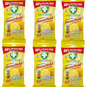 Cleaning Wipes Anti-Bacterial Household Surface Green Shield Wipes 70, 210, 420