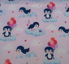 CUTE PENGUIN NURSERY KIDS EXTRA WIDE Baby Pink cotton fabric /PER METRE/