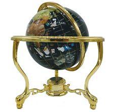 "14"" Black Ocean Gold ZINC ALLOY table stand Gem Jewel Gemstone World MAP globe"