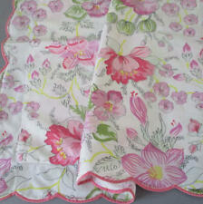 Vintage PORTHAULT Boudoir Pillow Sham PINK Flowers w Scalloped PINK Wavy Trim