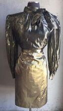 Vtg Lame Gold Straight Skirt Runway Drag Glitter