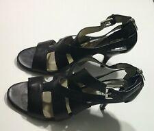 Michael Kors Caged Strap Sandal Heels Peep Open Toe Back Zip Black Shoes Size 9M