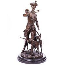 Bronze Statue Skulptur Jäger mit Jagdhorn Hund Jagd Edel Groß nach A.Moreau