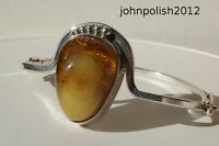 Gorgeous Hand Made Big Baltic Amber Bangle on Silver 925