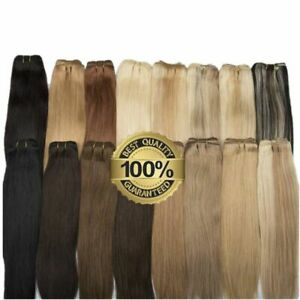 Double Weft Sew in Weave Brazilian Remy Human Hair Extensions Silky Straight100g