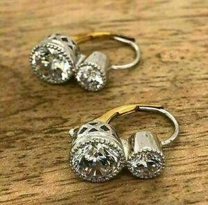3.24 Ct Vintage Art Deco Antique Wedding Earring's Diamond 14K White Gold Over