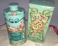1977 Floral Roses Arbutus  Perfumed Talc Powder Tin w Box Shabby Vanity Vtg