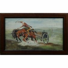 Original Signed Framed Antique Western Landscape Oil Painting Galloping Horses