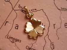 Glücksanhänger Kleeblatt Gold 333, schöner kleiner Kettenanhänger Kleeblatt Gold