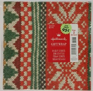 VTG Hallmark Christmas Gift Wrap Paper Knit Nordic Sweater Ugly Sweater Party