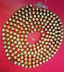"VINTAGE GOLD MERCURY GLASS BEAD CHRISTMAS GARLAND 3/8"" ACROSS 91"" LONG"