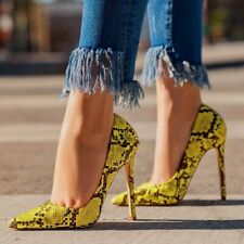 Women Snake High Heels Pointed Toe Stiletto Shoes Faux Leather Pumps Sandals New