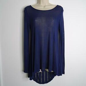 Phase Eight Navy Fine Knit Tunic Jumper Top Size 10 Hi Lo Hem Long Sleeve