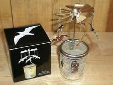 Glas-Karussell-Windlicht Möwe & Leuchtturm, silber in Geschenkverpackung