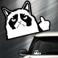(1) Grumpy Kitty car Sticker Auto Race Drift JDM Decal Euro Funny Middle Finger