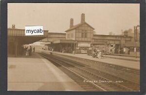 Postcard Chinley Railway Station nr Chapel en le Frith Derbyshire dated 1915 RP
