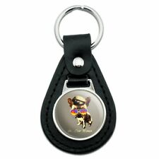 Ah Che Wawa Chihuahua Dog Vintage Retro Black Leather Keychain