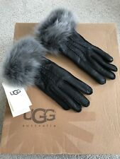 New with Defect & Labels Ugg Leather Gloves Fur Trim Ladies Size Small
