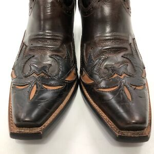 ✅❤️✅@ Ariat Dahlia Cowgirl Boots Wingtip Brown Inlay Leather  Woman's Sz 8.5 B