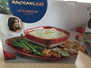 New Rachael Ray Cityscapes Ceramic Hot Chip and Dip Set, Cherry Red