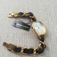Joan Rivers Black Leather and Gold-tone Watch - New w/ Tags