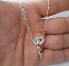 HEARTS  W/ PADLOCK PENDANT NECKLACE W/ .50 CT LAB DIAMONDS / 925 STERLING SILVER