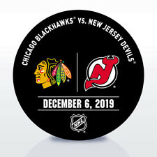 New Jersey Devils Game Used NHL Warm Up Puck 12/06/19 Vs. Chicago Blackhawks!