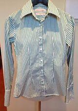 RHODES & BECKETT White & Green Stripe Egyptian Cotton French Cuff Shirt 4 XS