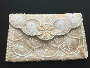 Vintage beaded clutch made in Japan 8 x 5 La Regale sequins embroidery purse