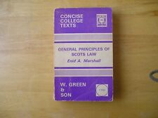 General Principles of Scots Law. Enid A Marshall. W Green & Son 1971. Softback.