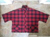 Coldwater Creek Large Wool Blend Black/ Red plaid cape coat
