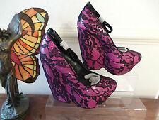 Ladies ALDO OLMOS Black & Pink Floral Platform Wedge Shoes UK 6 EURO 39 RRP £90