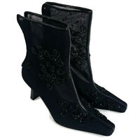 Enzo Angiolini Womens sz 6 Aschley Black Beaded Sheer Pointed Toe Heel Boots