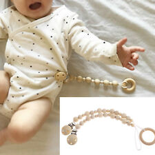 Baby Infant Boy Girl Wood Chain Clip Holder Pacifier Dummy Soother Nipple Leash