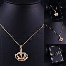 Schicker Schmuck: Halskette *Goldene Krone*, vergoldet, Swarovski Elements +Etui