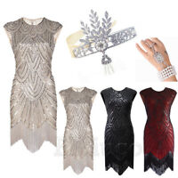 1920s Flapper Dress Great Gatsby Downton Abbey Gown Prom Fringed Sequin Dresses
