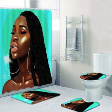 1/3/4Pcs 1.8m African Girl Shower Curtain Bath Mats Rugs Toilet Cover Mat Us
