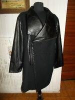 Veste bi-matières laine/simili cuir noir  DORIS STREICH 52 zip decalé