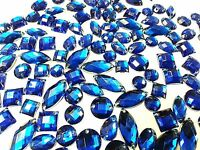 80 ROYAL BLUE Faceted Acrylic Sew On, Stick on DIAMANTE Crystal Rhinestone GEMS